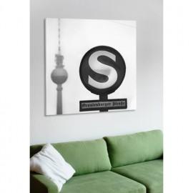 designersgroup - Leinwanddruck schwarz-weiß mit Berlin-Motiv: S-Bahn - Druck auf Leinwand im Format 50 x 50