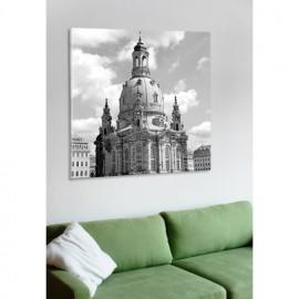 designersgroup - Leinwanddruck schwarz-weiß mit Dresden-Motiv: Frauenkirche - Druck auf Leinwand im Format 50 x 50