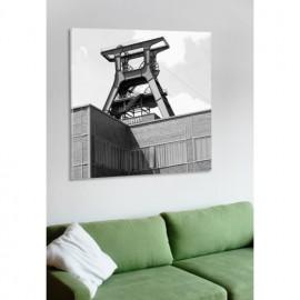 designersgroup - Leinwanddruck schwarz-weiß mit Essen-Motiv: Förderturm - Druck auf Leinwand im Format 50 x 50
