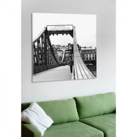 designersgroup - Leinwanddruck schwarz-weiß mit Frankfurt-Motiv: Eiserner Steg - Druck auf Leinwand im Format 50 x 50