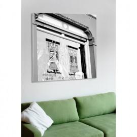 designersgroup - Leinwanddruck schwarz-weiß mit Heidelberg-Motiv: Heidelberger Zuckerladen - Druck auf Leinwand im Format 50 x 5