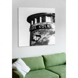 designersgroup - Leinwanddruck schwarz-weiß mit Köln-Motiv: Pegel Köln - Druck auf Leinwand im Format 50 x 50