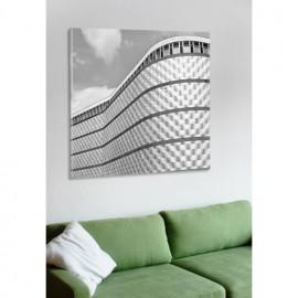 designersgroup - Leinwanddruck schwarz-weiß mit Leipzig-Motiv: Blechbüchse - Druck auf Leinwand im Format 50 x 50