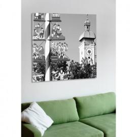 designersgroup - Leinwanddruck schwarz-weiß mit München-Motiv: Viktualienmarkt - Druck auf Leinwand im Format 50 x 50