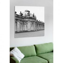 designersgroup - Leinwanddruck schwarz-weiß mit Potsdam-Motiv: Schloß Sanssouci - Druck auf Leinwand im Format 50 x 50