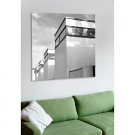 designersgroup - Leinwanddruck schwarz-weiß mit Stuttgart-Motiv: Oud-Bauten - Druck auf Leinwand im Format 50 x 50