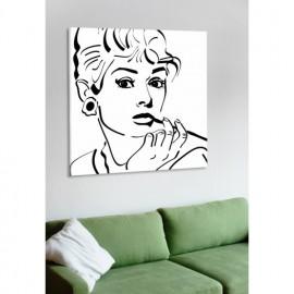 designersgroup - Leinwanddruck schwarz-weiß mit Grafik-Motiv: Audrey Hepburn - Druck auf Leinwand im Format 50 x 50