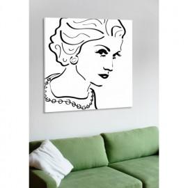 designersgroup - Leinwanddruck schwarz-weiß mit Grafik-Motiv: Coco Chanel - Druck auf Leinwand im Format 50 x 50