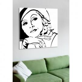 designersgroup - Leinwanddruck schwarz-weiß mit Grafik-Motiv: Greta Garbo - Druck auf Leinwand im Format 50 x 50