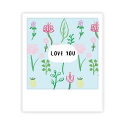 Pickmotion - Mini Pics - kleine Grußkarte - 90x110mm - Flower Power: I Love You