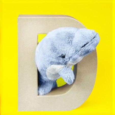 ABCebra Magnet D wie DELPHIN - gelb