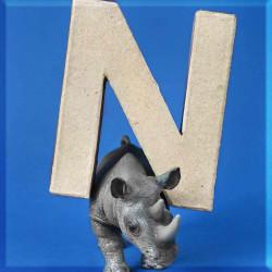 ABCebra Magnet N wie NASHORN - blau