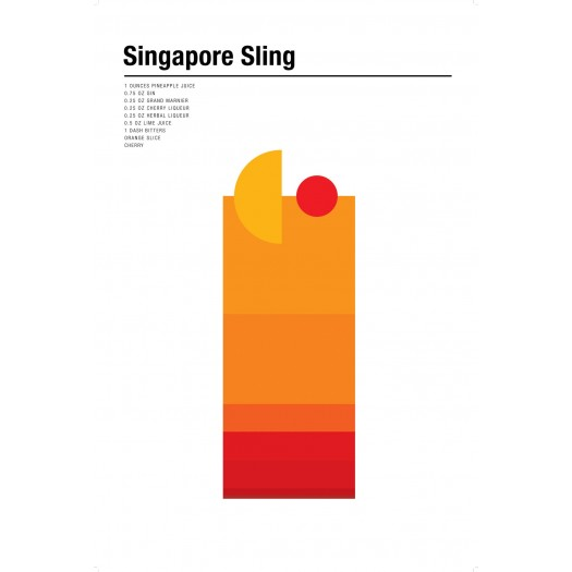 Nick Barclay - Print on Aludibond - Cocktail Collection - 18 Singapore Sling