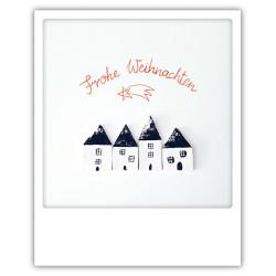 Pickmotion Christmas Cards - Weihnachten Postkarte: Frohe Weihnachten - Häuser