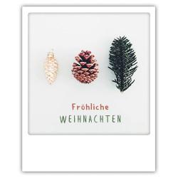 Pickmotion Christmas Cards - Weihnachten Postkarte: Fröhliche Weihnachten - Kiefernzapfen