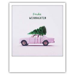 Pickmotion Christmas Cards - Weihnachten Postkarte: Frohe Weihnachten - Auto mit Baum