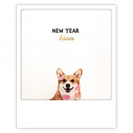 Pickmotion Christmas Cards - Weihnachten Postkarte - new year kisses corgi