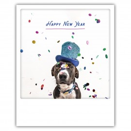 Pickmotion Christmas Cards - Weihnachten Postkarte - happy new year dog in a hat
