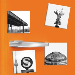 designersgroup - COGNOSCO - Set mit 4 Kühlschrank-Magneten - Berlin - 5x5cm - Neue Nationalgalerie Reichstagskuppel Goldelse Ale