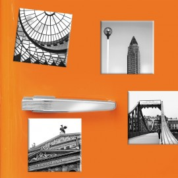 designersgroup - COGNOSCO - Set mit 4 Kühlschrank-Magneten - Frankfurt - 5x5cm - Messeturm Alte Oper Schirn Eiserner Steg