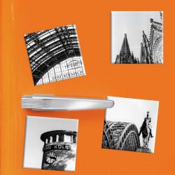 designersgroup - COGNOSCO - Set mit 4 Kühlschrank-Magneten - Köln - 5x5cm - Pegel Köln Kölner Dom Hohenzollernbrücke Hauptbahnho