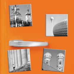 designersgroup - COGNOSCO - Set mit 4 Kühlschrank-Magneten - München -5x5cm - Frauenkirche Allianz-Arena Viktualienmarkt