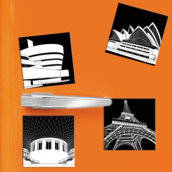 designersgroup - COGNOSCO - Set mit 4 Kühlschrank-Magneten - Stadtgrafiken INTERNATIONAL